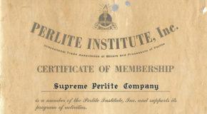 A Perlite Institute Certificate of Membership from 1954 Addressed to Supreme Perlite Company